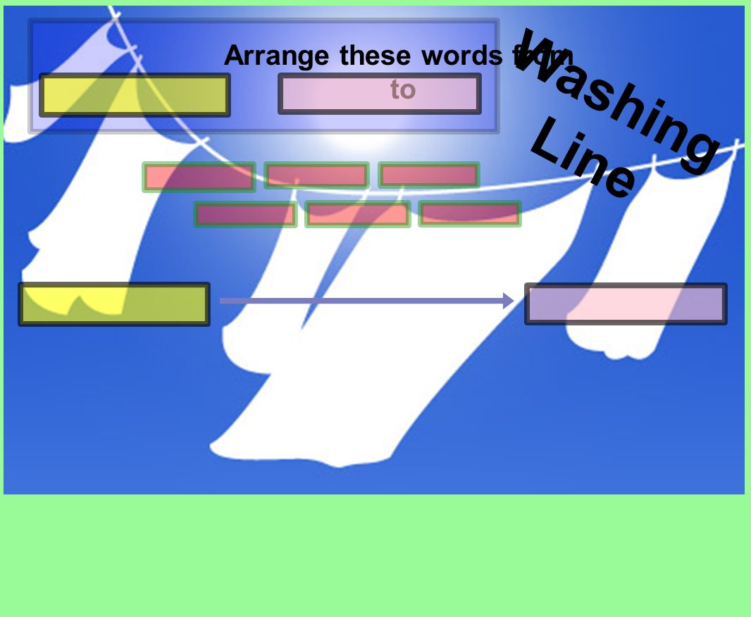 Washing Line Arrange these words from to