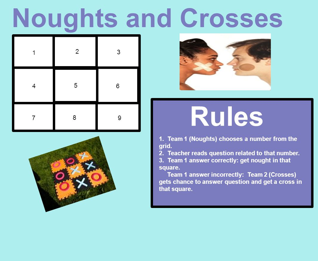 1 2 3 4 5 6 7 8 9 Noughts and Crosses Rules: 1. Team 1 (Noughts) chooses a number from the grid.