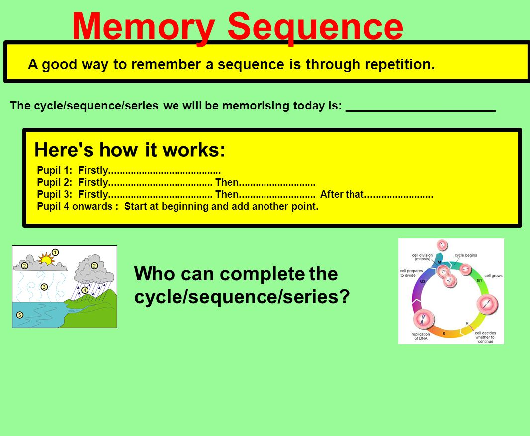 Memory Sequence A good way to remember a sequence is through repetition.
