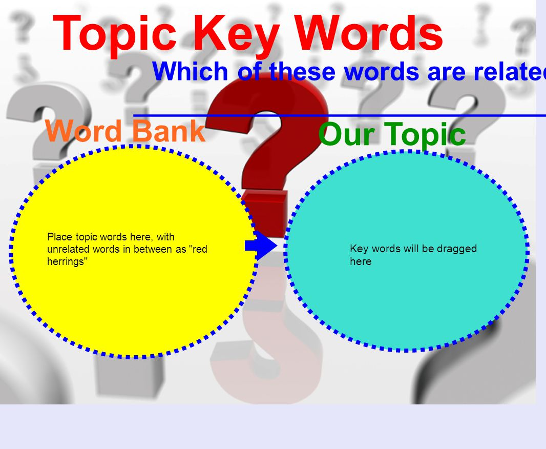 Topic Key Words Which of these words are related to ________________________________.