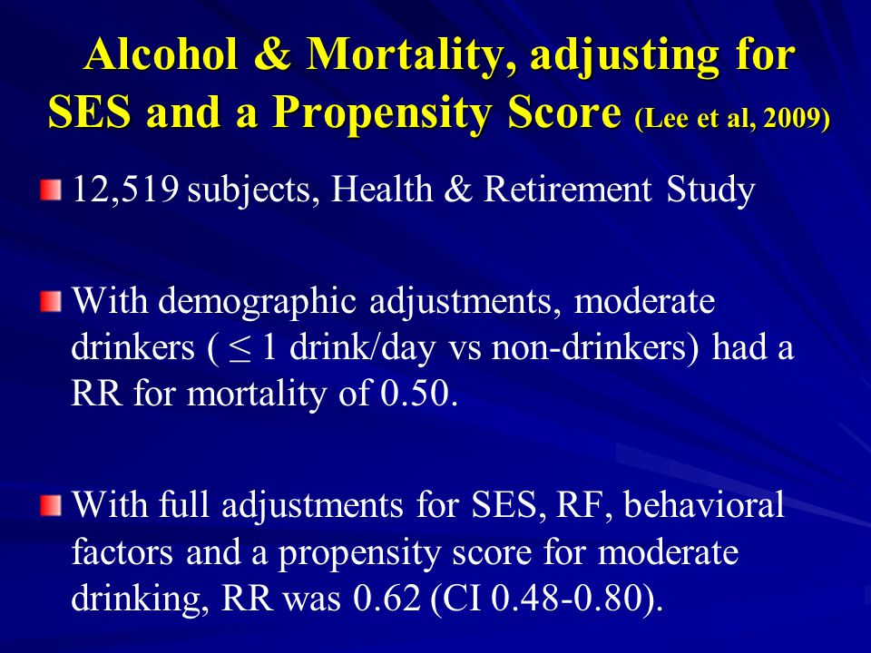 Alcohol & Mortality, adjusting for SES and a Propensity Score (Lee et al, 2009) 12,519 subjects, Health & Retirement Study With demographic adjustments, moderate drinkers ( ≤ 1 drink/day vs non-drinkers) had a RR for mortality of 0.50.