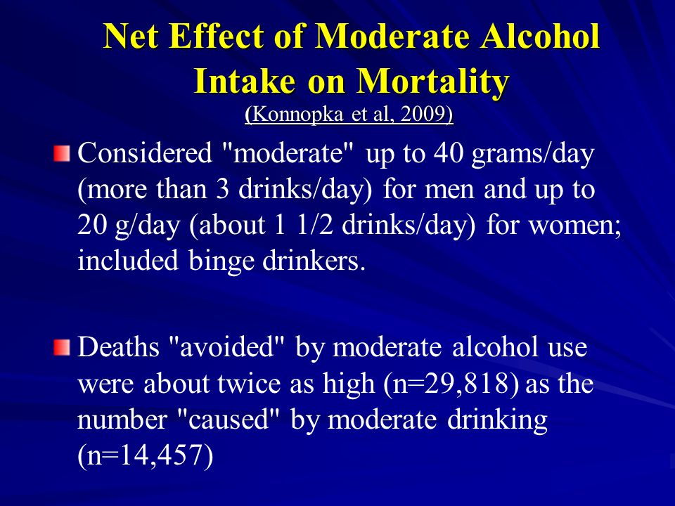 Net Effect of Moderate Alcohol Intake on Mortality (Konnopka et al, 2009) Considered moderate up to 40 grams/day (more than 3 drinks/day) for men and up to 20 g/day (about 1 1/2 drinks/day) for women; included binge drinkers.