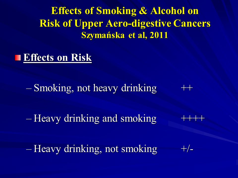 Effects of Smoking & Alcohol on Risk of Upper Aero-digestive Cancers Szymańska et al, 2011 Effects on Risk –Smoking, not heavy drinking++ –Heavy drinking and smoking++++ –Heavy drinking, not smoking+/-