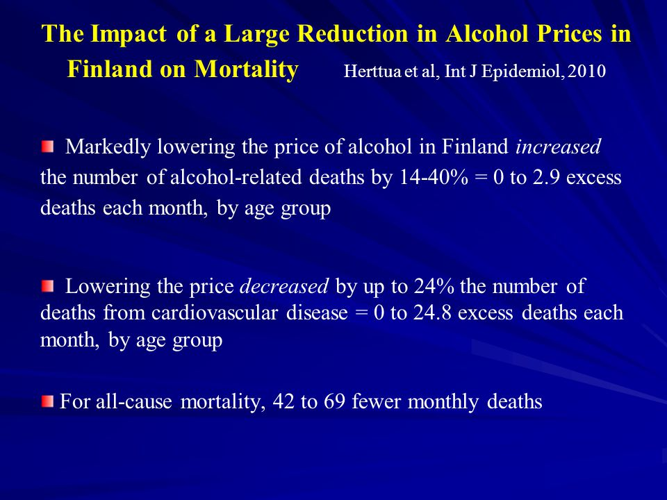 The Impact of a Large Reduction in Alcohol Prices in Finland on Mortality Herttua et al, Int J Epidemiol, 2010 Markedly lowering the price of alcohol in Finland increased the number of alcohol-related deaths by 14-40% = 0 to 2.9 excess deaths each month, by age group Lowering the price decreased by up to 24% the number of deaths from cardiovascular disease = 0 to 24.8 excess deaths each month, by age group For all-cause mortality, 42 to 69 fewer monthly deaths