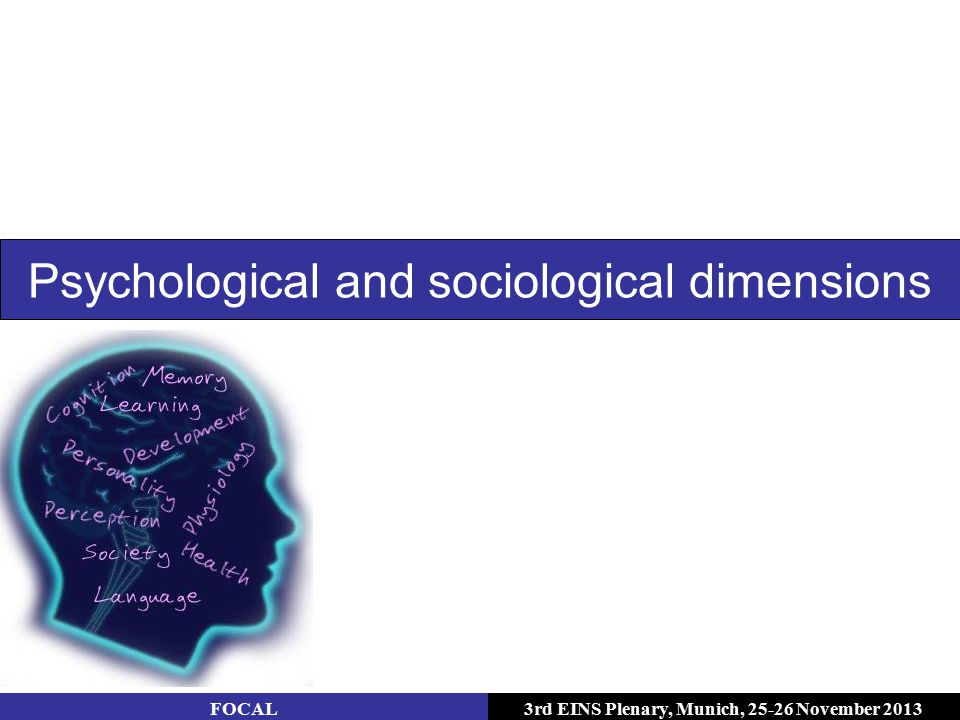 3rd EINS Plenary, Munich, 25-26 November 2013 Psychological and sociological dimensions FOCAL
