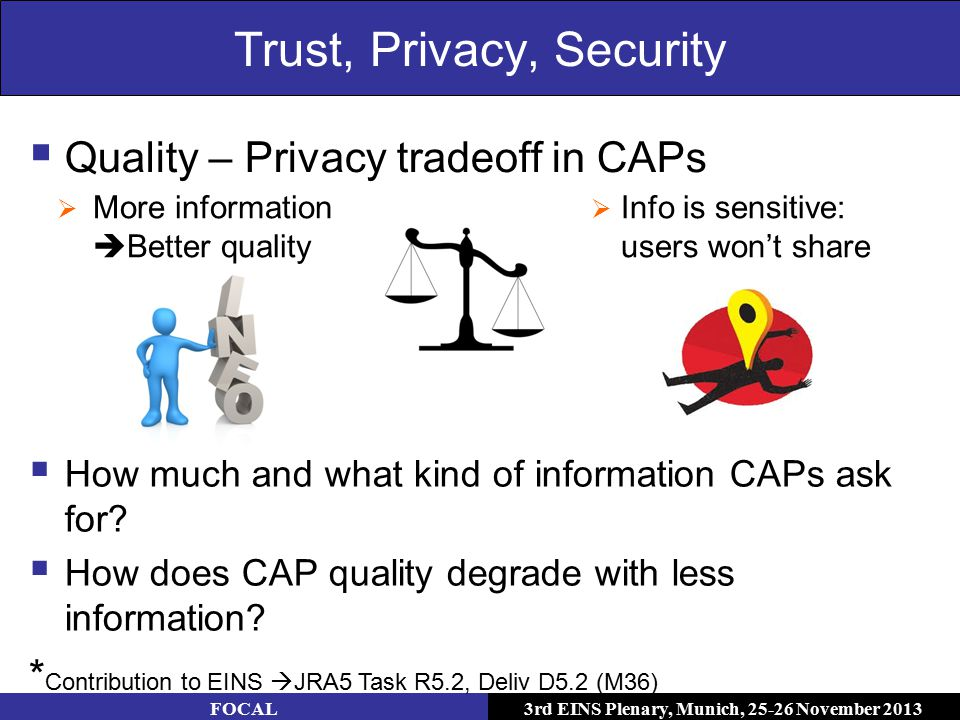 3rd EINS Plenary, Munich, 25-26 November 2013 Trust, Privacy, Security FOCAL  Info is sensitive: users won't share  More information  Better quality  Quality – Privacy tradeoff in CAPs  How much and what kind of information CAPs ask for.