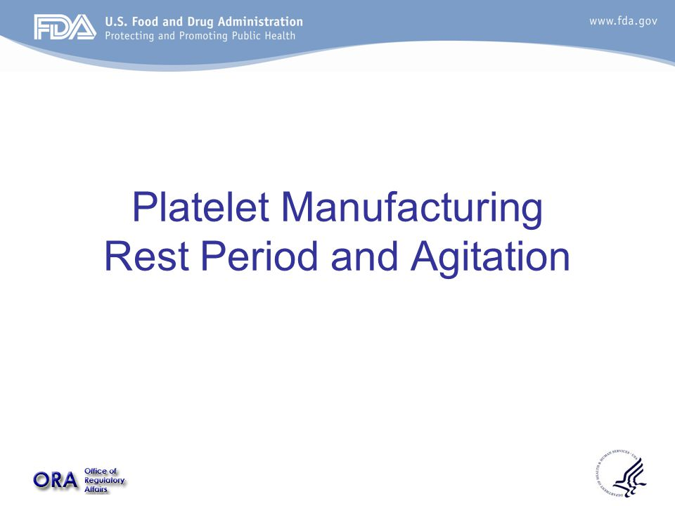 Platelet Manufacturing Rest Period and Agitation