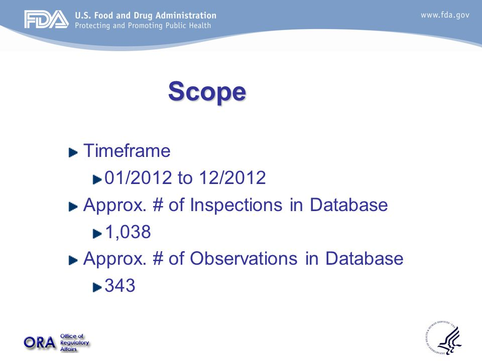 Scope Timeframe 01/2012 to 12/2012 Approx. # of Inspections in Database 1,038 Approx.