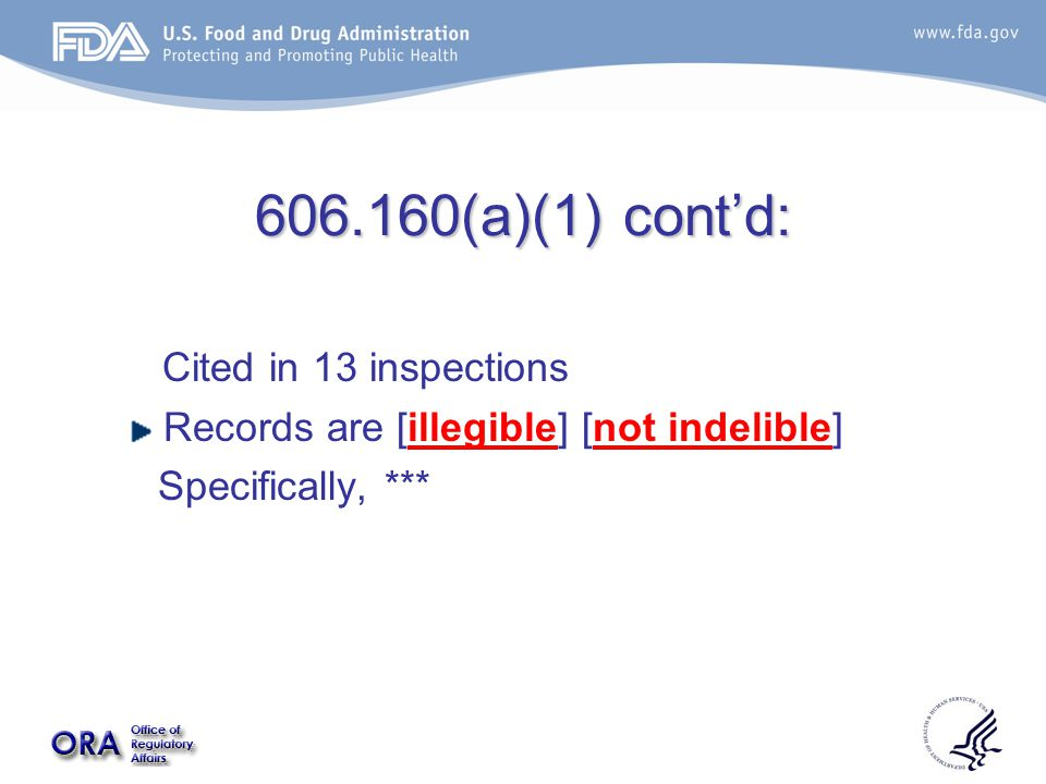 606.160(a)(1) cont'd: Cited in 13 inspections Records are [illegible] [not indelible] Specifically, ***