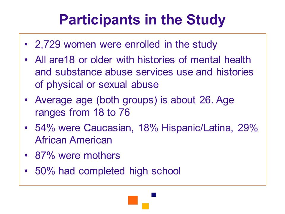 Participants in the Study 2,729 women were enrolled in the study All are18 or older with histories of mental health and substance abuse services use and histories of physical or sexual abuse Average age (both groups) is about 26.