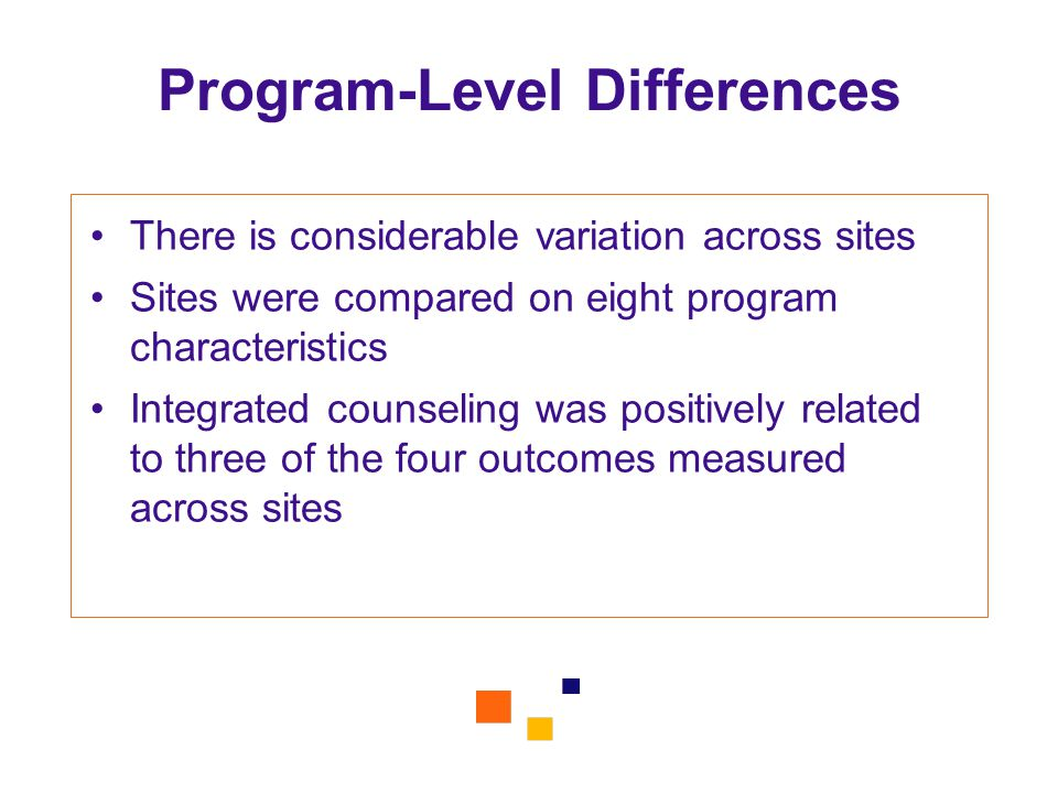 Program-Level Differences There is considerable variation across sites Sites were compared on eight program characteristics Integrated counseling was positively related to three of the four outcomes measured across sites