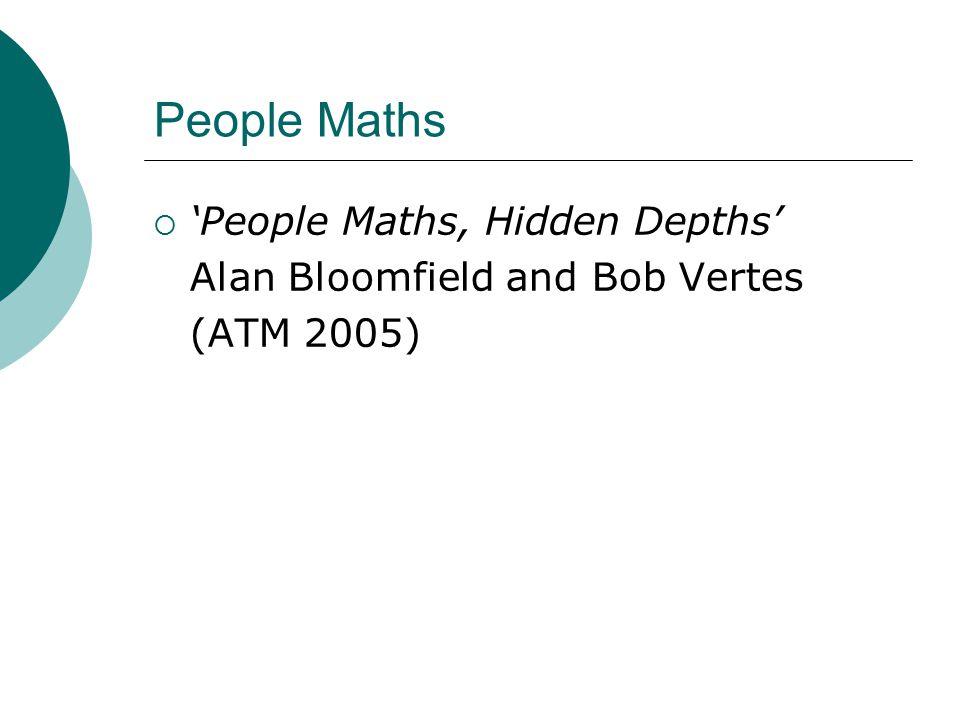 People Maths  'People Maths, Hidden Depths' Alan Bloomfield and Bob Vertes (ATM 2005)