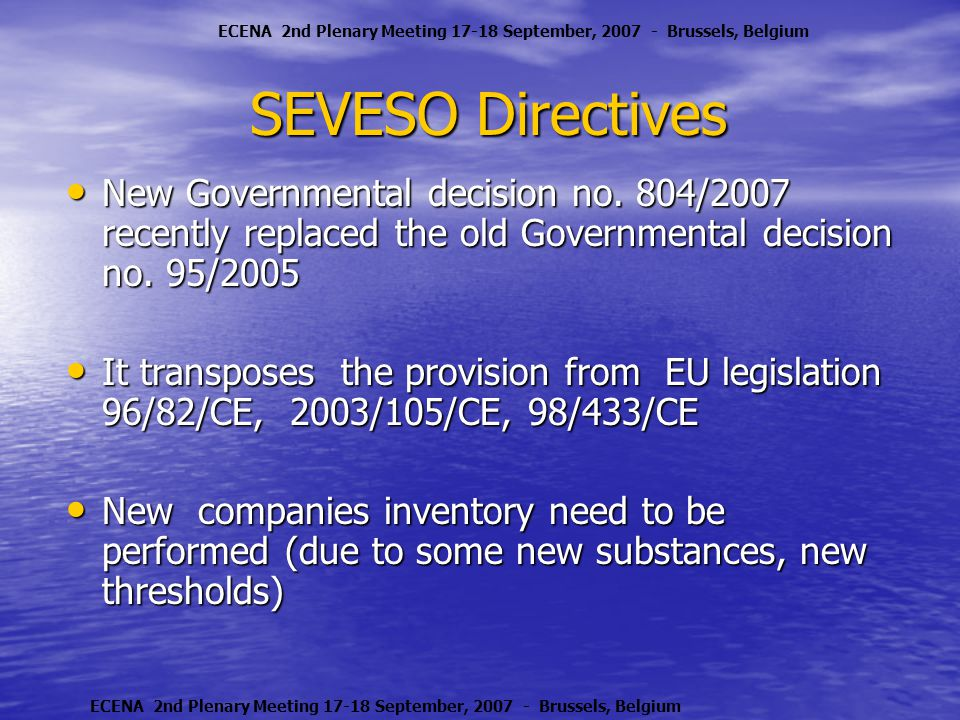 SEVESO Directives New Governmental decision no.