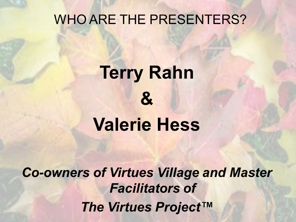 WHO ARE THE PRESENTERS.