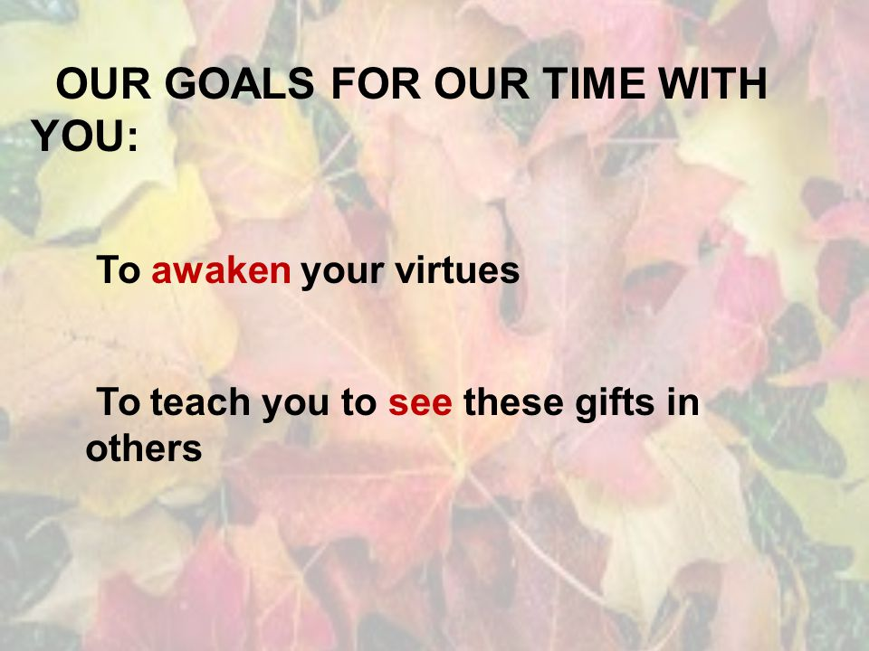 OUR GOALS FOR OUR TIME WITH YOU: To awaken your virtues To teach you to see these gifts in others