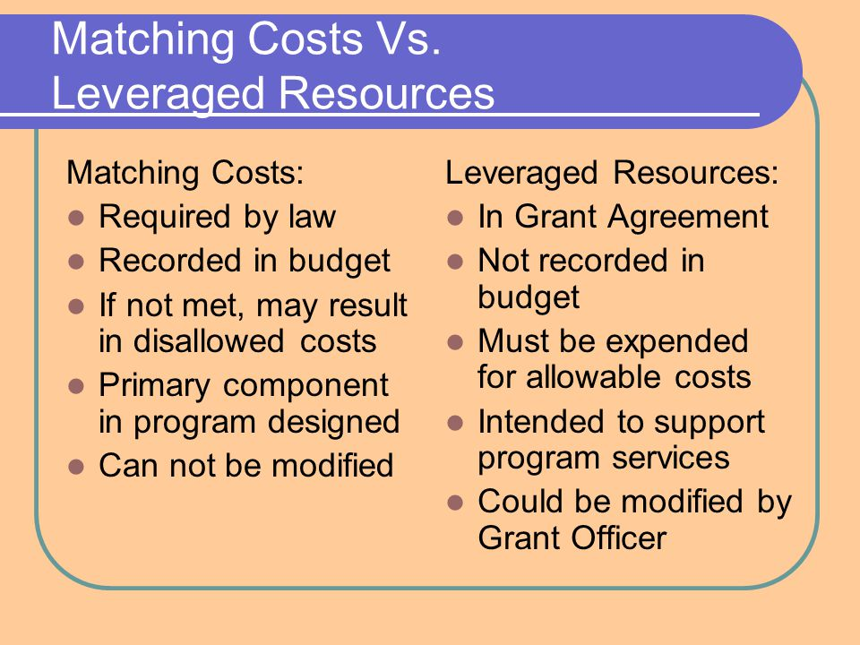 Matching Costs Vs.