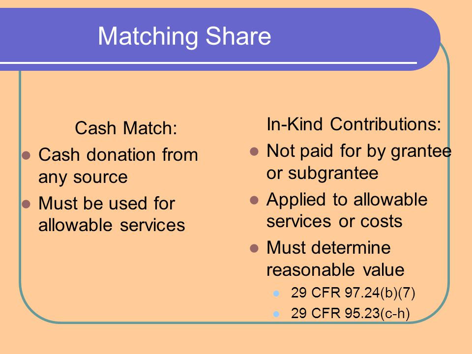 Matching Share Cash Match: Cash donation from any source Must be used for allowable services In-Kind Contributions: Not paid for by grantee or subgrantee Applied to allowable services or costs Must determine reasonable value 29 CFR 97.24(b)(7) 29 CFR 95.23(c-h)