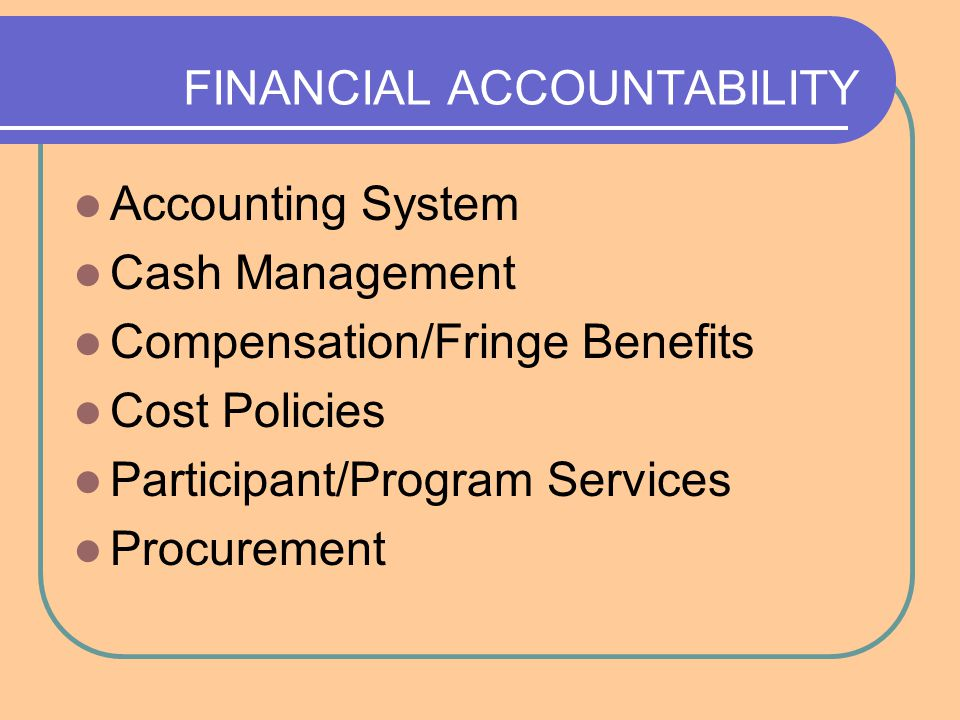 FINANCIAL ACCOUNTABILITY Accounting System Cash Management Compensation/Fringe Benefits Cost Policies Participant/Program Services Procurement