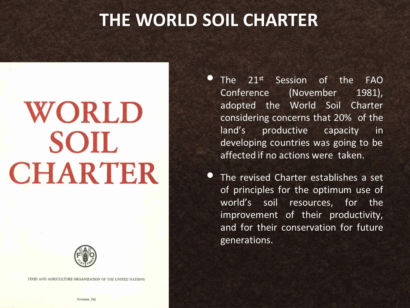 THE WORLD SOIL CHARTER The 21 st Session of the FAO Conference (November 1981), adopted the World Soil Charter considering concerns that 20% of the land's productive capacity in developing countries was going to be affected if no actions were taken.