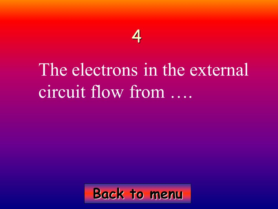 Back to menu Back to menu4 The electrons in the external circuit flow from ….
