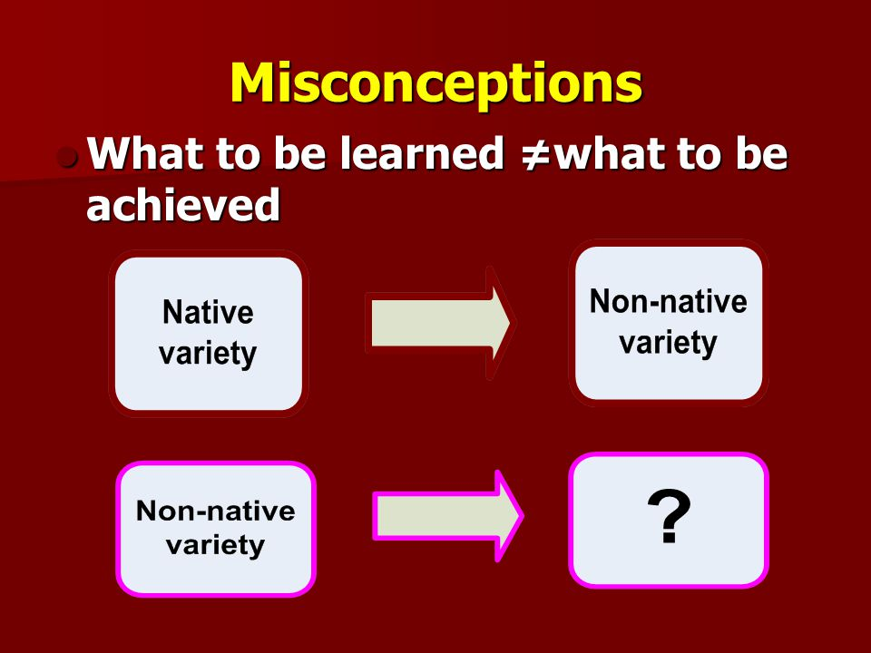 Misconceptions What to be learned ≠what to be achieved What to be learned ≠what to be achieved