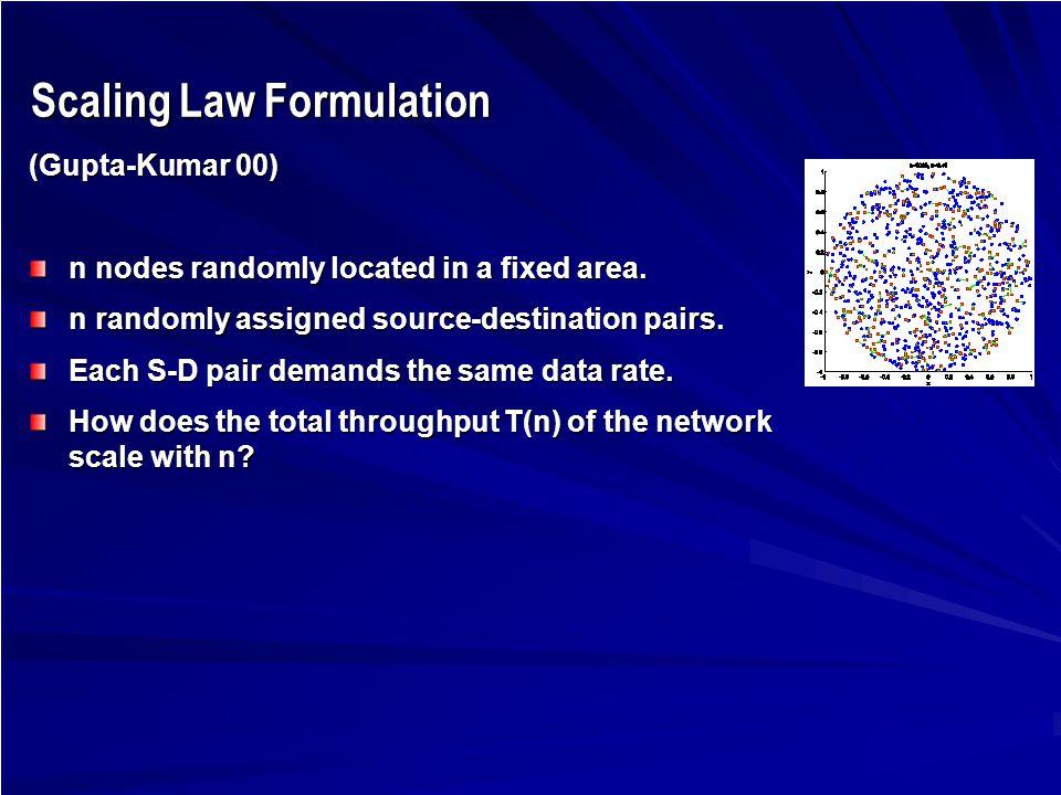 Scaling Law Formulation Scaling Law Formulation (Gupta-Kumar 00) n nodes randomly located in a fixed area.