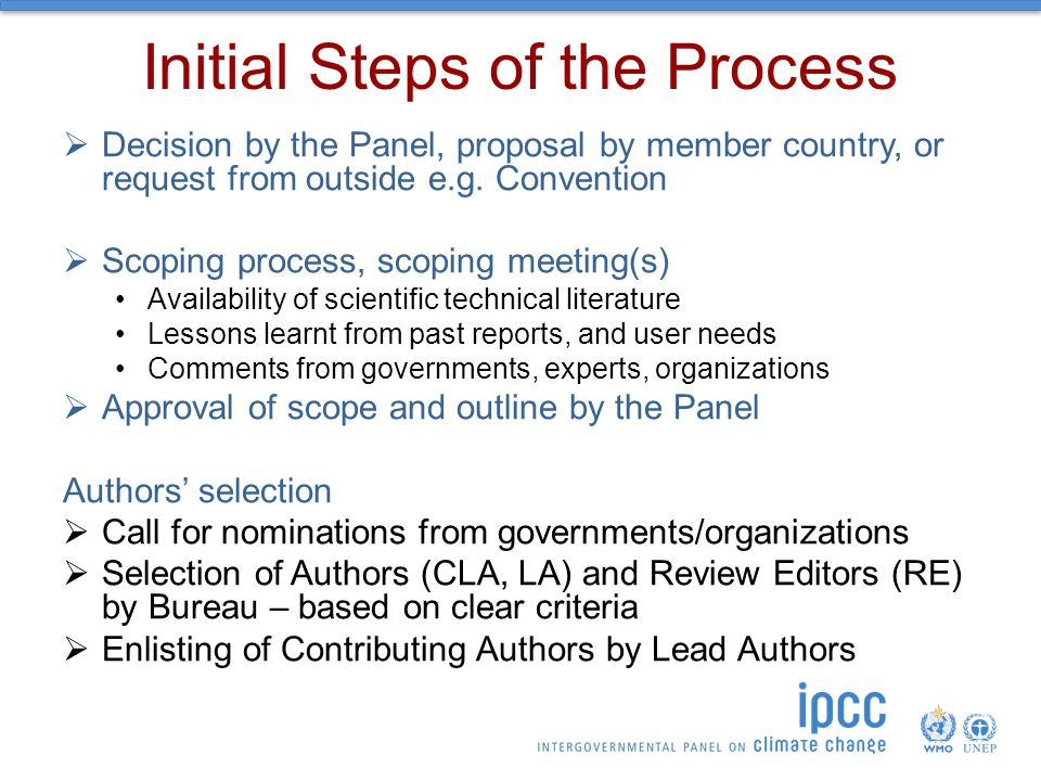 Initial Steps of the Process  Decision by the Panel, proposal by member country, or request from outside e.g.