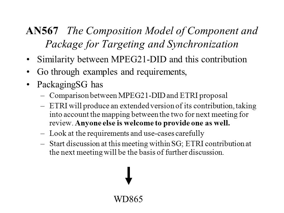 AN567 The Composition Model of Component and Package for Targeting and Synchronization Similarity between MPEG21-DID and this contribution Go through examples and requirements, PackagingSG has –Comparison between MPEG21-DID and ETRI proposal –ETRI will produce an extended version of its contribution, taking into account the mapping between the two for next meeting for review.