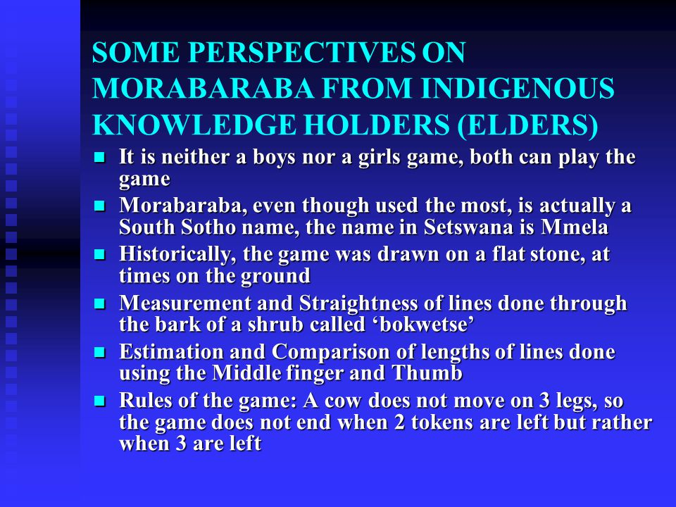 MORABARABA GAME: HISTORY AND BACKGROUND South African War Games Union (with Headquarters in Johannesburg) has been organizing competitions on the game