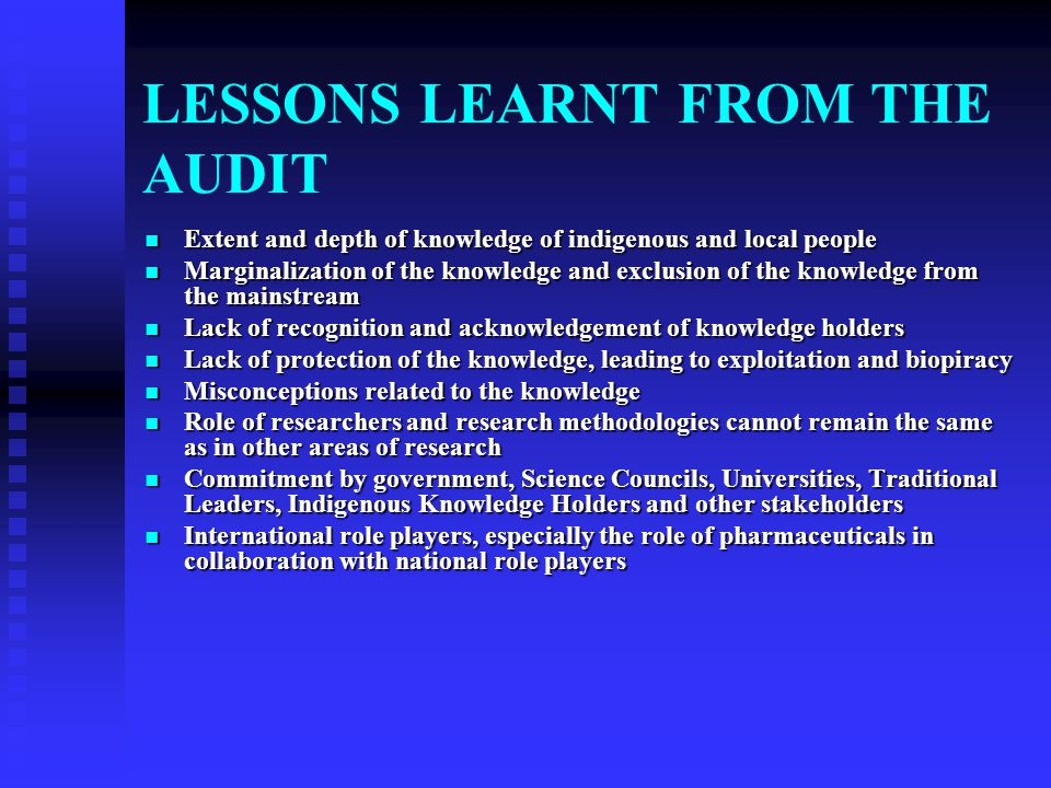 HISTORICAL DEVELOPMENTS WITH RESPECT TO INDIGENOUS KNOWLEDGE SYSTEMS (IKS) IN SOUTH AFRICA: AUDITS AND WORKSHOPS 1996: Meeting between Chairperson of
