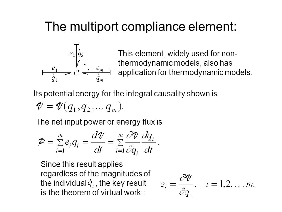 The multiport compliance element: This element, widely used for non- thermodynamic models, also has application for thermodynamic models.