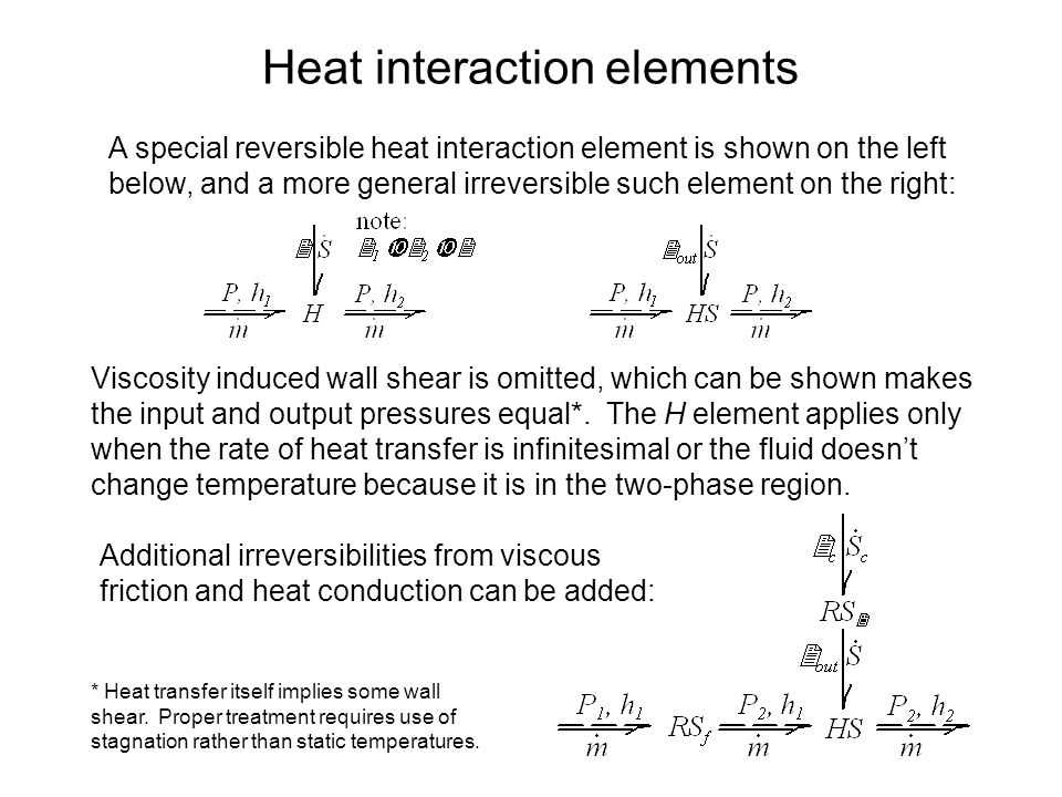 Heat interaction elements A special reversible heat interaction element is shown on the left below, and a more general irreversible such element on the right: Viscosity induced wall shear is omitted, which can be shown makes the input and output pressures equal*.