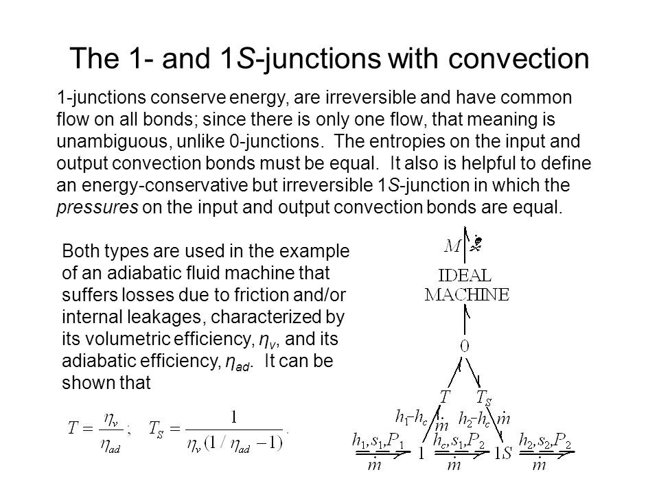 The 1- and 1S-junctions with convection 1-junctions conserve energy, are irreversible and have common flow on all bonds; since there is only one flow, that meaning is unambiguous, unlike 0-junctions.