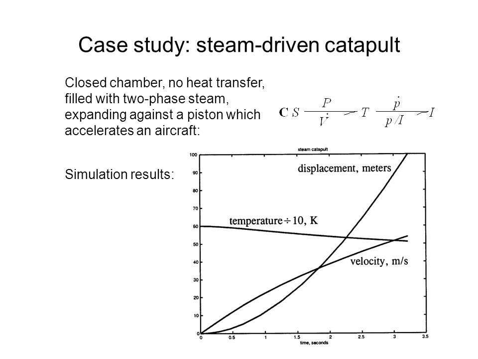 Case study: steam-driven catapult Closed chamber, no heat transfer, filled with two-phase steam, expanding against a piston which accelerates an aircraft: Simulation results: