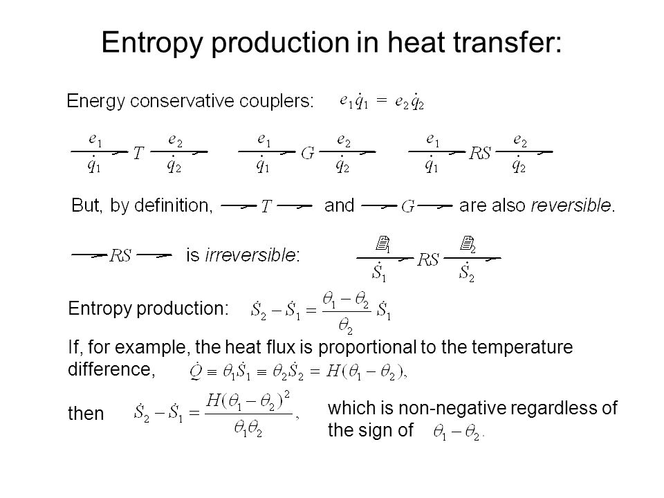 Entropy production in heat transfer: Entropy production: If, for example, the heat flux is proportional to the temperature difference, then which is non-negative regardless of the sign of