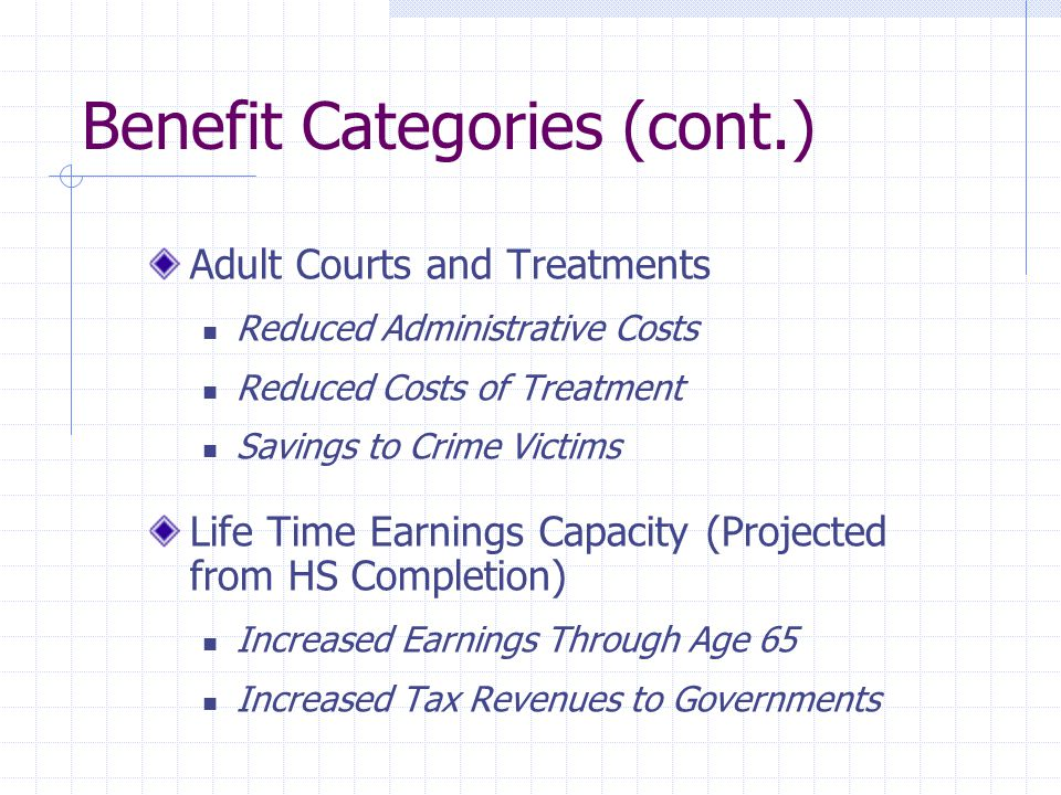 Benefit Categories (cont.) Adult Courts and Treatments Reduced Administrative Costs Reduced Costs of Treatment Savings to Crime Victims Life Time Earnings Capacity (Projected from HS Completion) Increased Earnings Through Age 65 Increased Tax Revenues to Governments