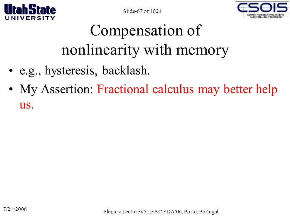 7/21/2006 Plenary Lecture #5. IFAC FDA'06, Porto, Portugal Slide-67 of 1024 Compensation of nonlinearity with memory e.g., hysteresis, backlash. My As