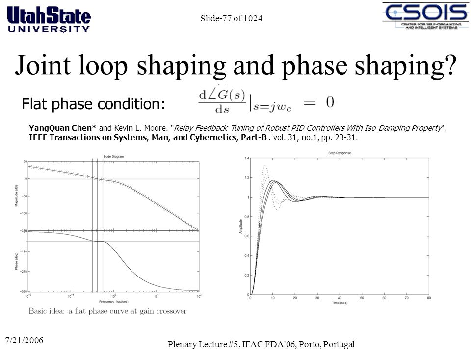 7/21/2006 Plenary Lecture #5. IFAC FDA'06, Porto, Portugal Slide-77 of 1024 Joint loop shaping and phase shaping? Flat phase condition: YangQuan Chen*