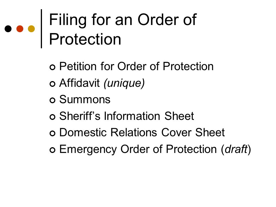 Filing for an Order of Protection Petition for Order of Protection Affidavit (unique) Summons Sheriff's Information Sheet Domestic Relations Cover Sheet Emergency Order of Protection (draft)