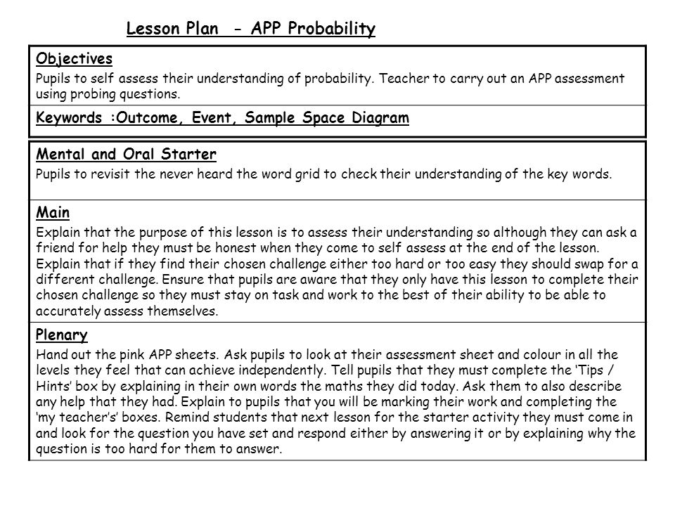 Lesson Plan - APP Probability Mental and Oral Starter Pupils to revisit the never heard the word grid to check their understanding of the key words.