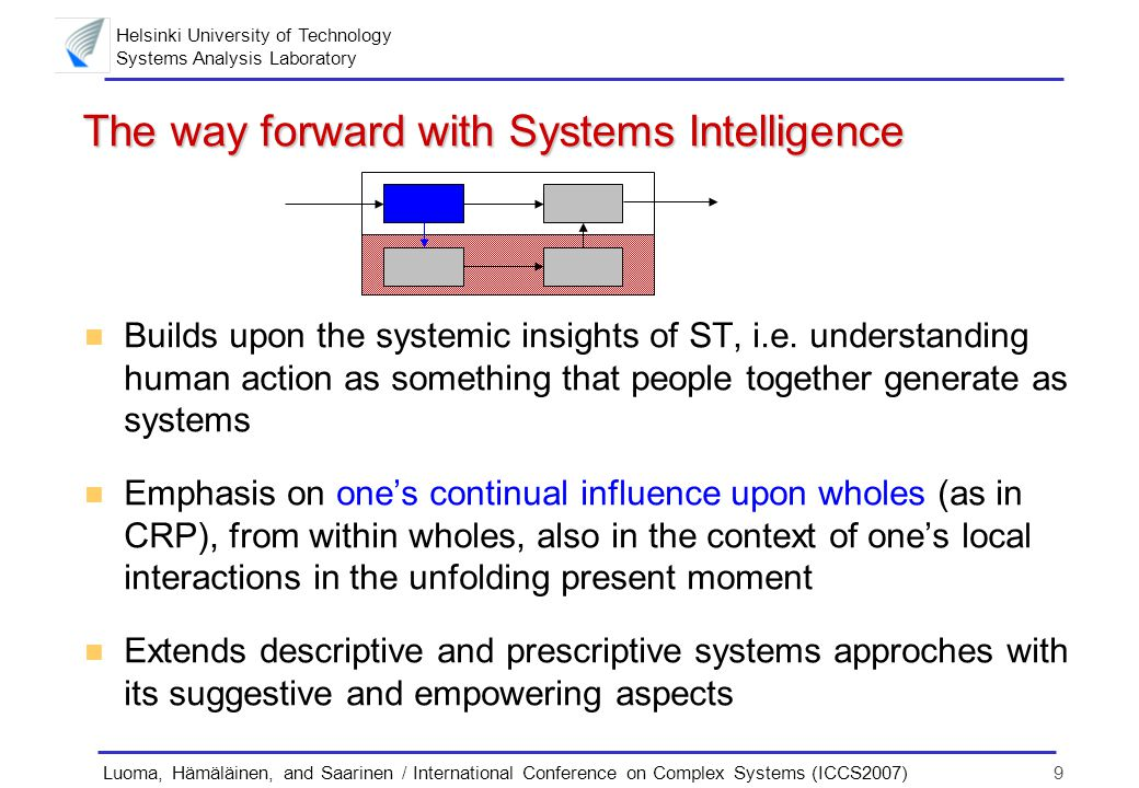 Helsinki University of Technology Systems Analysis Laboratory 9Luoma, Hämäläinen, and Saarinen / International Conference on Complex Systems (ICCS2007) The way forward with Systems Intelligence n Builds upon the systemic insights of ST, i.e.