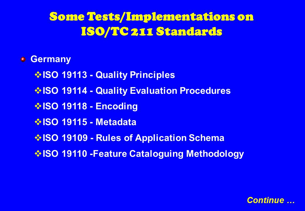 Some Tests/Implementations on ISO/TC 211 Standards Germany  ISO 19113 - Quality Principles  ISO 19114 - Quality Evaluation Procedures  ISO 19118 - Encoding  ISO 19115 - Metadata  ISO 19109 - Rules of Application Schema  ISO 19110 -Feature Cataloguing Methodology Continue …