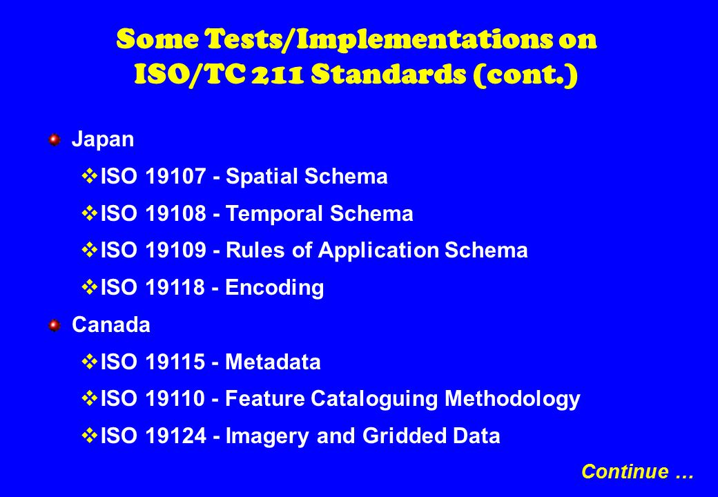 Some Tests/Implementations on ISO/TC 211 Standards (cont.) Japan  ISO 19107 - Spatial Schema  ISO 19108 - Temporal Schema  ISO 19109 - Rules of Application Schema  ISO 19118 - Encoding Canada  ISO 19115 - Metadata  ISO 19110 - Feature Cataloguing Methodology  ISO 19124 - Imagery and Gridded Data Continue …