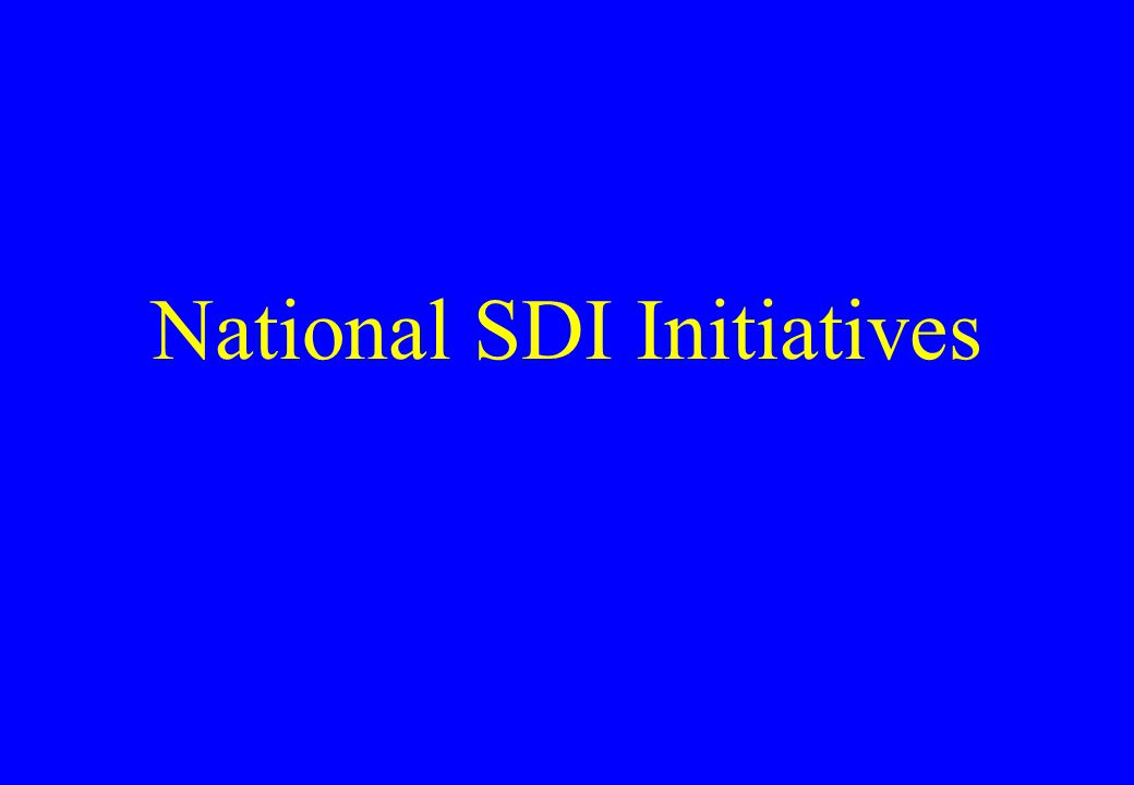National SDI Initiatives