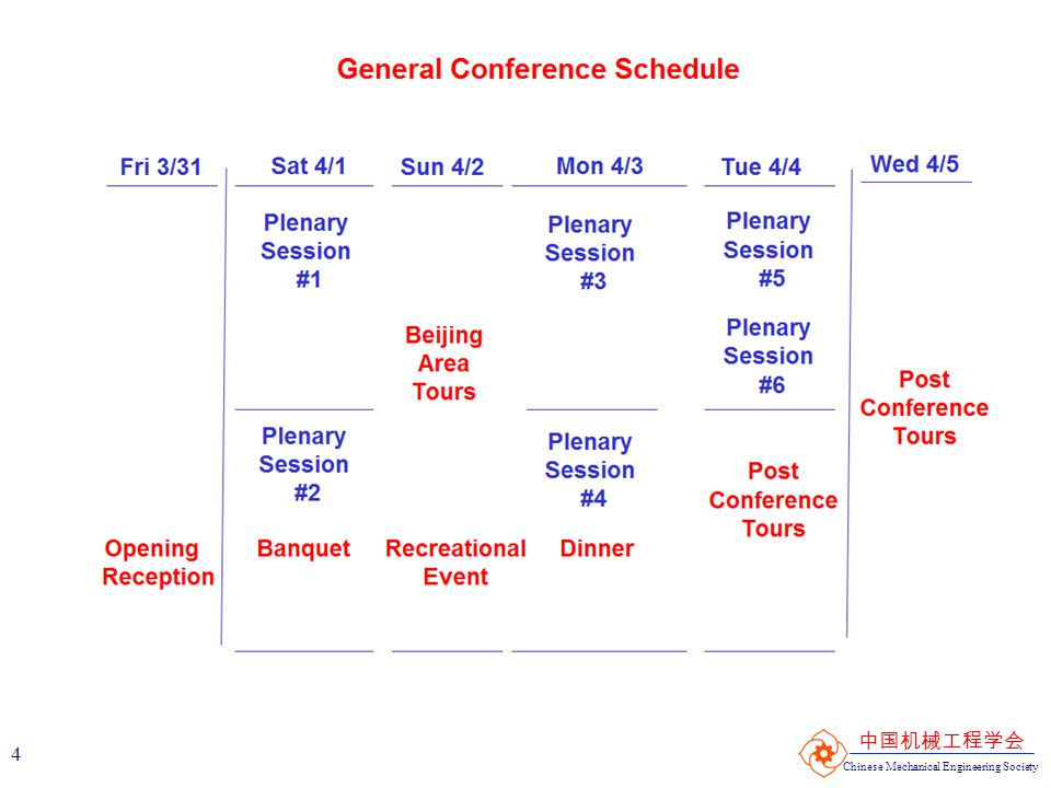 Chinese Mechanical Engineering Society 中国机械工程学会 25 Invitation to Participate: We invite all ICOMES members to… Recommend Plenary Speakers Now through October 15 Help Promote the Conference By helping to regularly promote the conference between now and March 2006, your members will receive $100 registration discount.