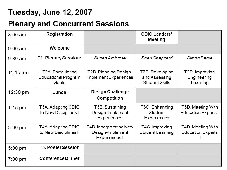 Tuesday, June 12, 2007 Plenary and Concurrent Sessions 8:00 am Registration CDIO Leaders' Meeting 9:00 am Welcome 9:30 am T1.