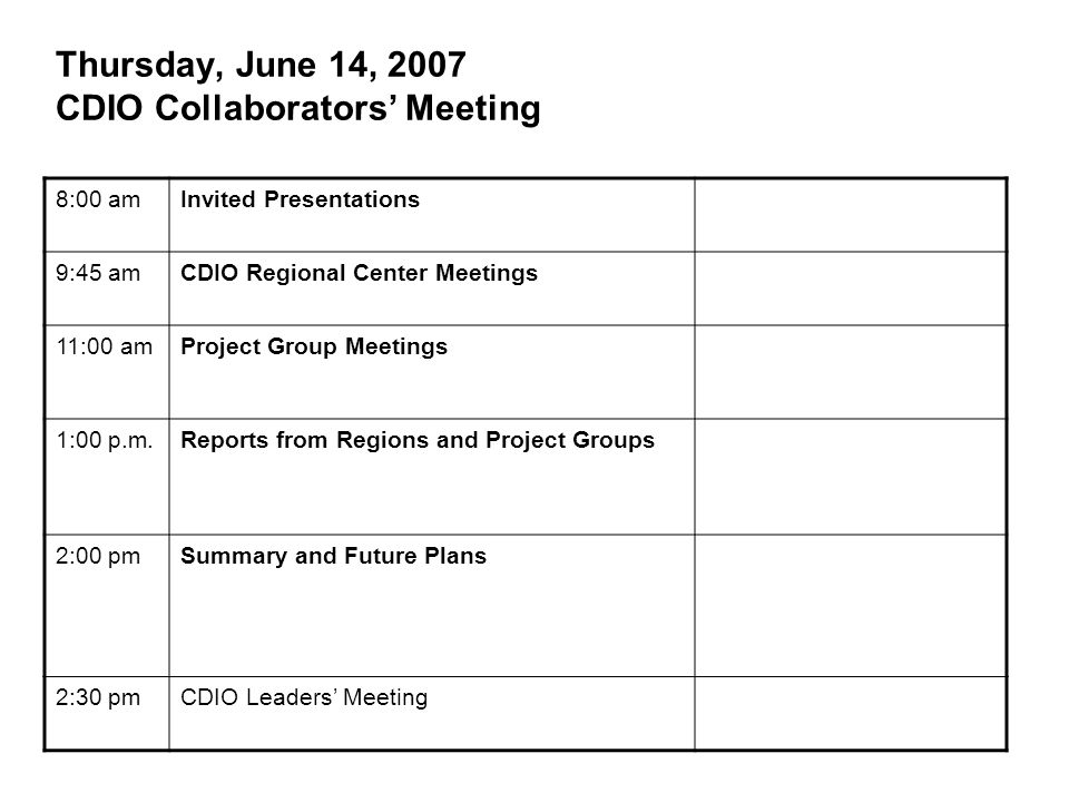 Thursday, June 14, 2007 CDIO Collaborators' Meeting 8:00 amInvited Presentations 9:45 amCDIO Regional Center Meetings 11:00 amProject Group Meetings 1:00 p.m.Reports from Regions and Project Groups 2:00 pmSummary and Future Plans 2:30 pmCDIO Leaders' Meeting