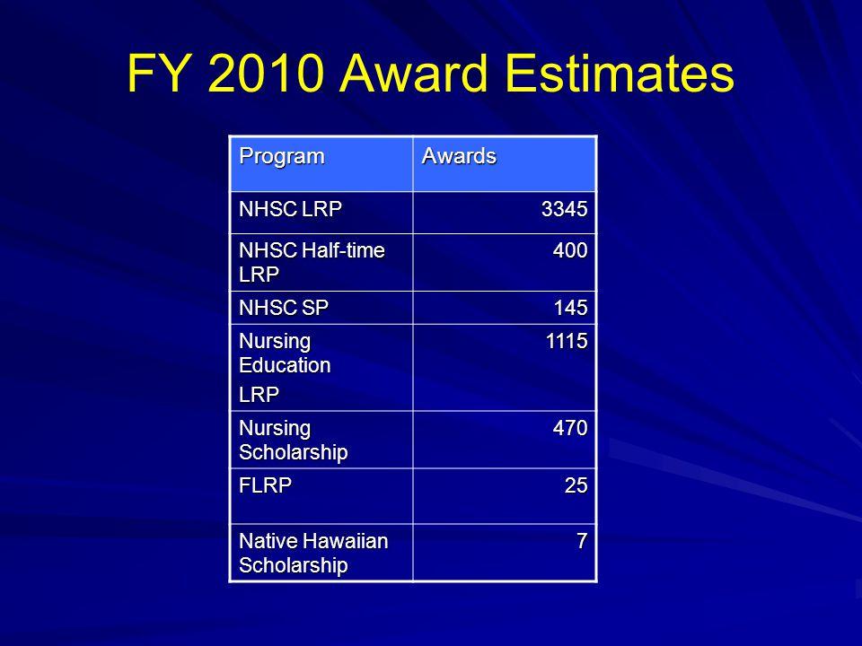 FY 2010 Award EstimatesProgramAwards NHSC LRP 3345 NHSC Half-time LRP 400 NHSC SP 145 Nursing Education LRP1115 Nursing Scholarship 470 FLRP25 Native Hawaiian Scholarship 7