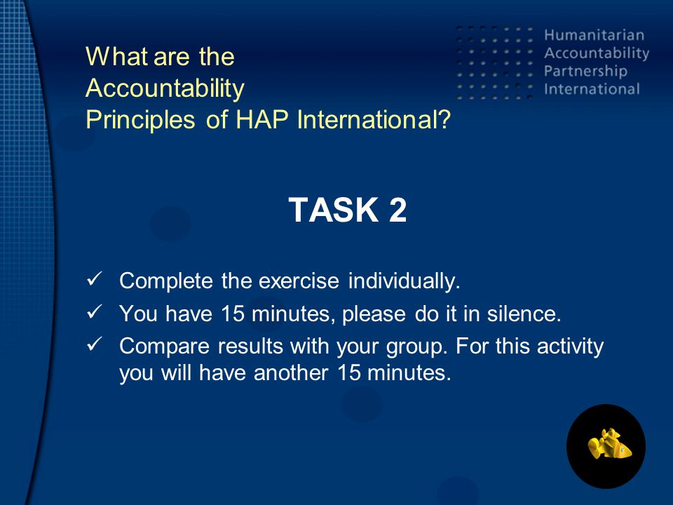 What are the Accountability Principles of HAP International.