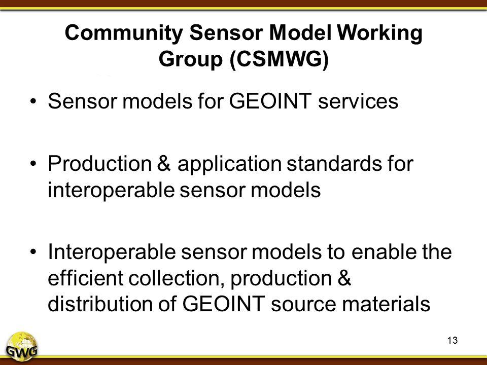 Community Sensor Model Working Group (CSMWG) Sensor models for GEOINT services Production & application standards for interoperable sensor models Inte